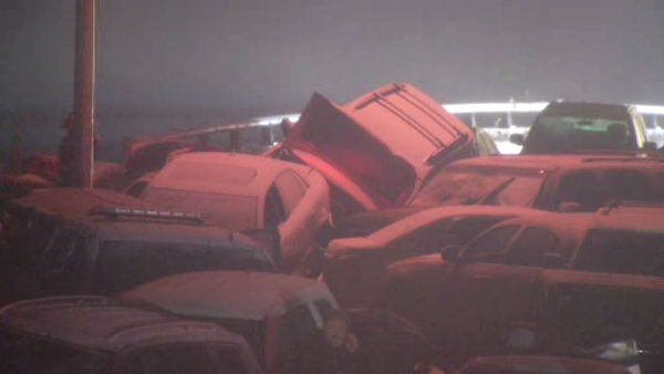 At least a dozen cars were involved in a pileup Sunday night on the Bronx River Parkway in Yonkers after wintry weather caused treacherous driving conditions.