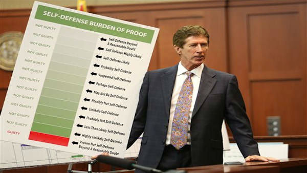 Defense counsel Mark O&#39;Mara holds up a chart during closing arguments in the trial of George Zimmerman at the Seminole County Criminal Justice Center, in Sanford, Fla., Friday, July 12, 2013. Zimmerman is charged in the 2012 shooting death of unarmed teenager Trayvon Martin. &#40;AP Photo&#47;Orlando Sentinel, Joe Burbank, Pool&#41;  <span class=meta>(AP Photo &#47; Joe Burbank)</span>