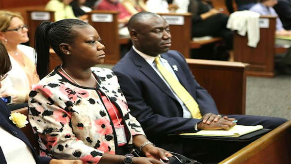 "<div class=""meta ""><span class=""caption-text "">Sybrina Fulton, front left, mother of slain teen Trayvon Martin, and family attorney Benjamin Crump, watch the proceedings in the George Zimmerman trial in Seminole circuit court in Sanford, Fla., Monday, June 17, 2013. Zimmerman has been charged with second-degree murder for the 2012 shooting death of Trayvon Martin.(AP Photo/Orlando Sentinel, Joe Burbank, Pool) (AP Photo / Joe Burbank)</span></div>"