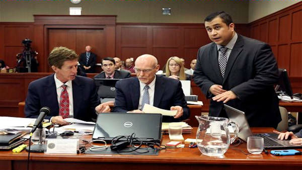George Zimmerman, right, with his defense attorneys Mark O&#39;Mara, left, and Don West, center, addresses Judge Debra Nelson during his trial in Seminole circuit court in Sanford, Fla. Wednesday, July 10, 2013. Zimmerman has been charged with second-degree murder for the 2012 shooting death of Trayvon Martin. &#40;AP Photo&#47;Orlando Sentinel, Gary W. Green, Pool&#41;  <span class=meta>(AP Photo &#47; Gary W. Green)</span>