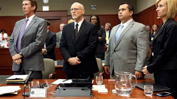 "<div class=""meta ""><span class=""caption-text "">George Zimmerman, second from right, stands with his defense team Mark O'Mara, left, Don West, second from left, and Lorna Truett, right, during his trial in Seminole circuit court in Sanford, Fla. Thursday, July 11, 2013. Zimmerman has been charged with second-degree murder for the 2012 shooting death of Trayvon Martin.  (AP Photo/Orlando Sentinel, Gary W. Green, Pool)</span></div>"