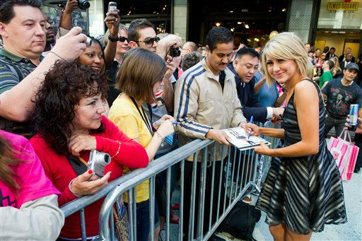 "<div class=""meta ""><span class=""caption-text "">Dancing with the Stars finalist Chelsea Kane meets with fans after an appearance on Good Morning America in New York, Wednesday, May 25, 2011. (AP Photo/Charles Sykes)</span></div>"