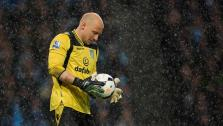 (FILE) Aston Villas goalkeeper Brad Guzan prepares to take a kick during his teams 4-0 loss at Manchester City in their English Premier League soccer match at the Etihad Stadium, Manchester, England, Wednesday May 7, 2014.  - Provided courtesy of AP Photo/Jon Super