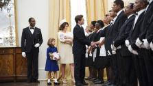 This image released by The Weinstein Company shows, from second left, Chloe Barach as Caroline Kennedy, Minka Kelly as Jackie Kennedy, James Marsden as President John F. Kennedy and Forest Whitaker as Cecil Gaines, third from right, in a scene from Lee Daniels The Butler. A wide range of actors have played President John F. Kennedy in the movies and on TV.  - Provided courtesy of AP Photo/The Weinstein Company, Anne Marie Fox