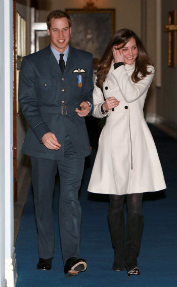 In this file photo dated Friday April 11, 2008, showing Britain&#39;s Prince William and his girlfriend Kate Middleton at RAF Cranwell, England, after William received his RAF wings from his father the Prince of Wales. They&#39;ve met the parents. They&#39;ve even gone shooting with the parents. They&#39;ve had their trial breakups and trial makeups. Now, people in this very English village say, it&#39;s time for Prince William and local girl Kate Middleton to make it official.  After all, the cautious prince has been dating Middleton on and off _ mostly on _ for more than eight years, ever since they met at the University of St. Andrews. &#40;AP Photo&#47;Michael Dunlea, Pool&#41; <span class=meta>(AP Photo&#47; Michael Dunlea)</span>
