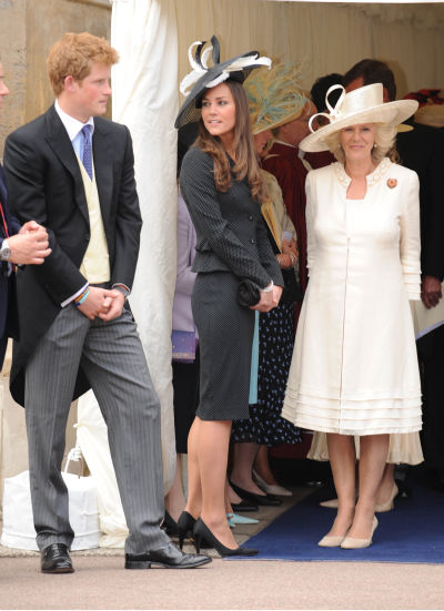 "<div class=""meta ""><span class=""caption-text "">Britain's Prince Harry, Kate Middleton and the Duchess of Cornwall watch the Most Noble Order of the Garter ceremony at St George's Chapel, Windsor Castle, England, Monday June 16, 2008, at which Prince William was installed into the order. The Order of the Garter, established by King Edward III in 1348, is the Queen's personal gift, given without advice from government ministers.(AP Photo/Harry Page, The Daily Mirror, pool) (AP Photo/ Harry Page)</span></div>"