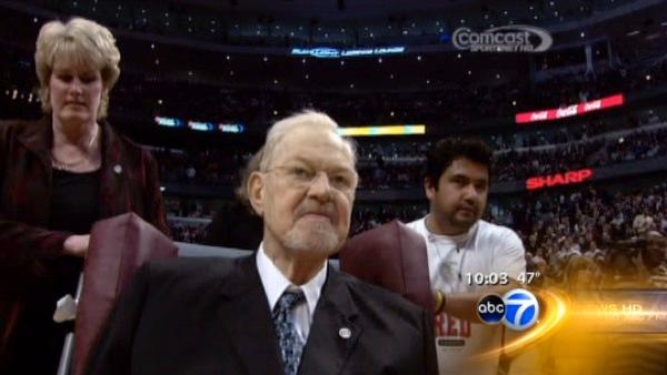 Former Bulls coach Johnny Red Kerr was honored at the United Center just two weeks ago. (Image courtesy Comcast Sports Net)