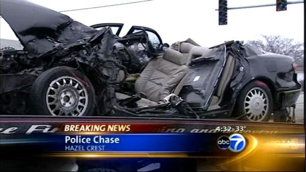 Apparent police pursuit ends in Hazel Crest crash