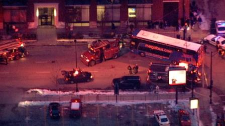 The Chicago Fire Department confirms the woman was struck near the corner of Des Plaines and Adams at around 5 p.m. by a bus belonging to Megabus, an inter-city discount carrier.