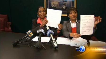 Dr. Darreyl Young-Gibson and her attorney showed off the judges orders Monday. The judge agreed with Young-Gibson that Chicago Public Schools head Ron Huberman did not follow due process when he removed her from Julian High School last year.