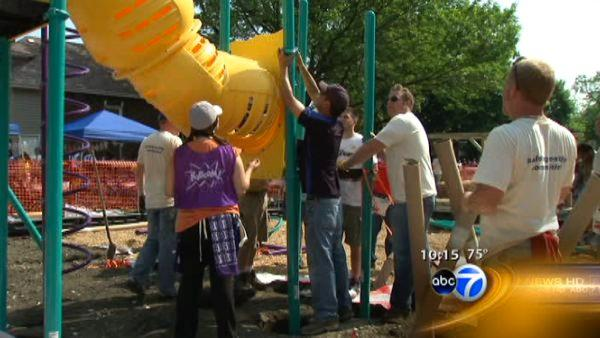 Volunteers build new playground for Berwyn kids