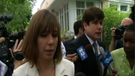Former Illinois Gov. Rod Blagojevich and wife, Patti, leave their North Side home Monday, June 27, 2011.