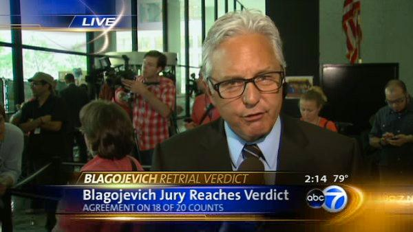 Chuck Goudie relays Blagojevich verdict live on ABC7