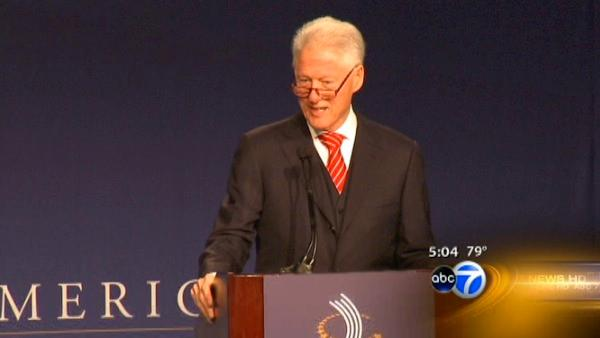 Bill Clinton in Chicago, talks job creation
