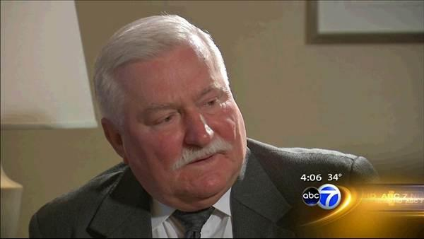 Former Polish president Lech Walesa in Chicago