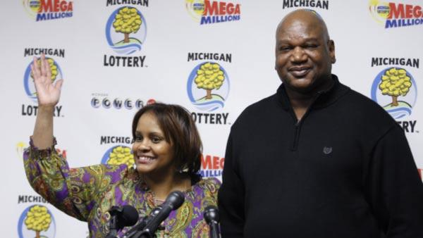 Hosea, right, and Charlene Person talk about their winning Mega Millions lottery ticket at a news conference Friday, Feb. 4, 2011, in Lansing, Mich.