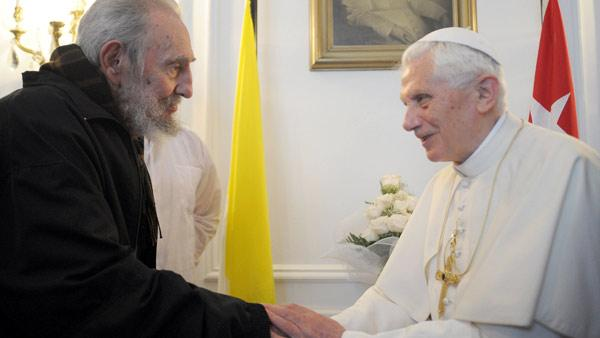 In this picture made available by the Vatican newspaper Osservatore Romano Pope Benedict XVI meets with Fidel Castro in Havana, Wednesday, March 28, 2012. (AP Photo/Osserv