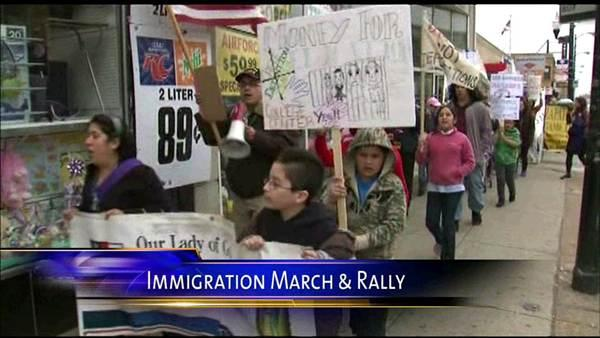Immigration activists march to proposed detention center