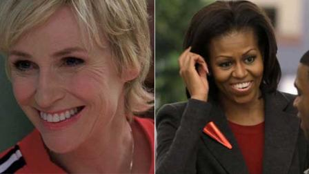Glee actress and Dolton native Jane Lynch, left, and first lady Michelle Obama.