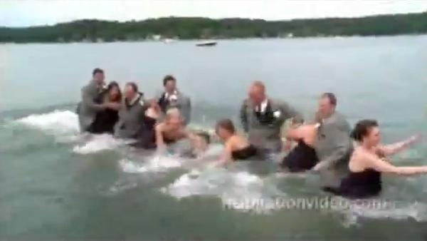 Bridal party joins newlyweds in taking the plunge