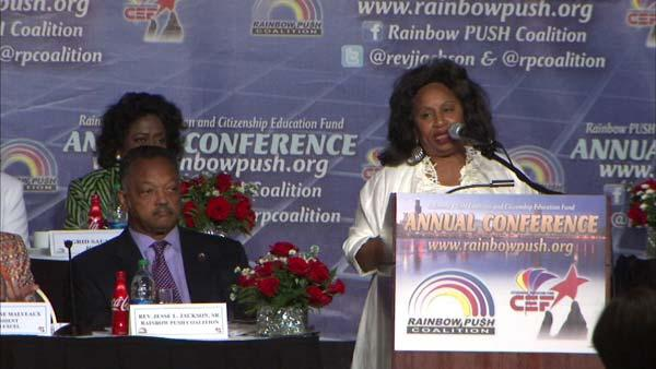 RAW VIDEO: Jackson Jr.'s mother talks at Rainbow PUSH event