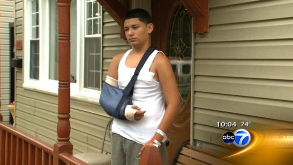 Teen who blocked friend from bullets is back home