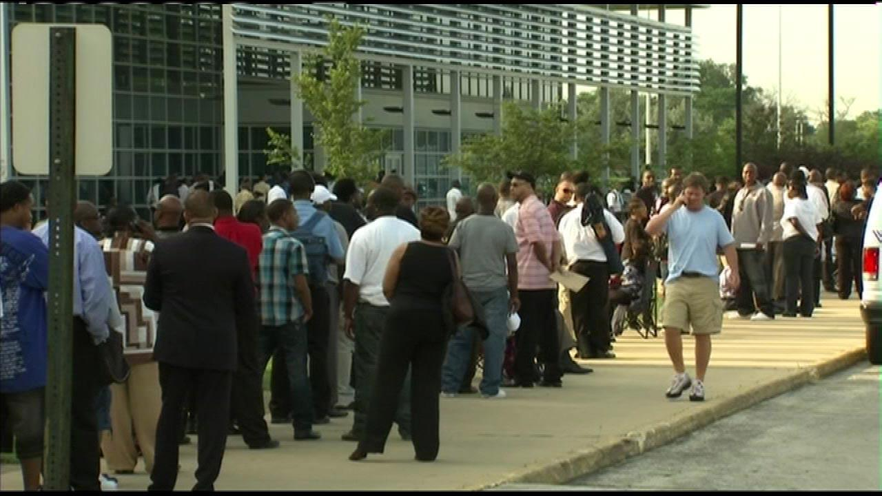 Hundreds lined up early Monday morning, July 30, 3012, hoping to work for the Chicago Transit Authority. The CTA hosted the first of three job fairs at Chicago State University as it looks for hundreds of new part-time bus drivers to help handle increased demand when the south end of the Red Line is shut down for renovation next year.