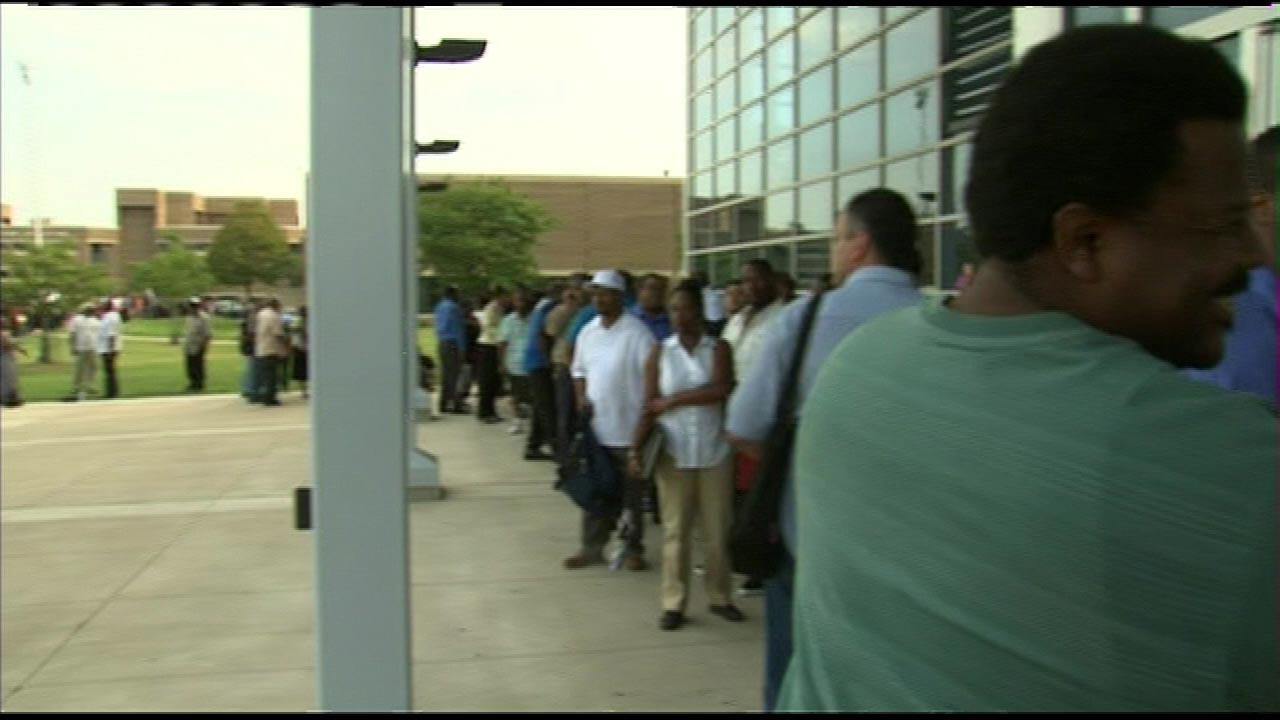 Hundreds lined up early Monday morning, July 30, 3012, hoping to work for the Chicago Transit Authority. The CTA hosted the first of three job fairs at Chicago State University as it looks for hundreds of new part-time bus drivers to help handle increased demand when the south end of the Red Line is shut down for renovation next year. <a hrefhttp://abclocal.go.com/wls/story?sectionnews/local&id8754353>Read More</a> | <a hrefhttp://abclocal.go.com/wls/story?sectionnews/local&id8740446>CTA Job Fair Dates and Locations</a>