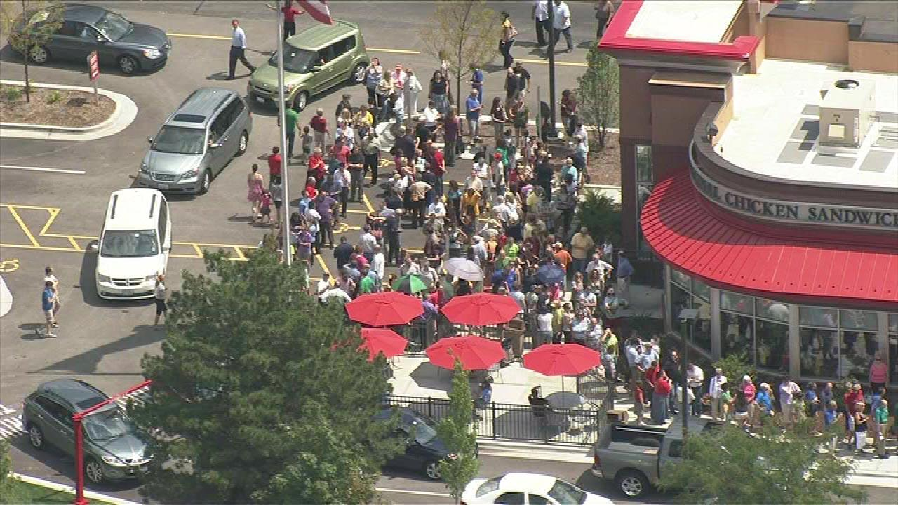 Throngs of people lined up outside the Chick-Fil-A in Orland Park on Wednesday, August 1, 2012.