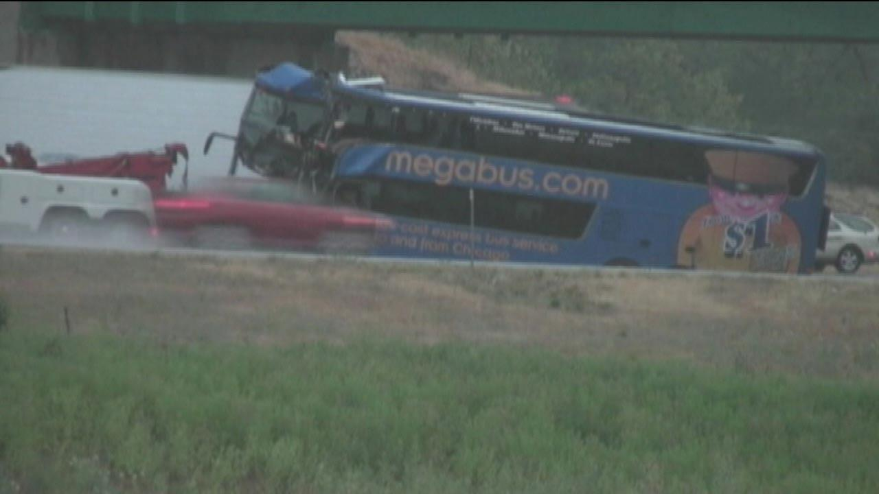 A double-decker Megabus traveling between Chicago and St. Louis slammed into a concrete bridge support on Thursday afternoon, August 2, 2012.