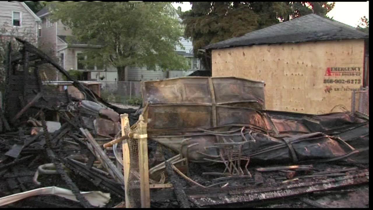 Bomb and arson investigators are looking into a string of suspicious fires after several garages at six addresses in Chicagos Andersonville neighborhood went up in flames,  just after midnight, Wednesday, August 8, 2012.