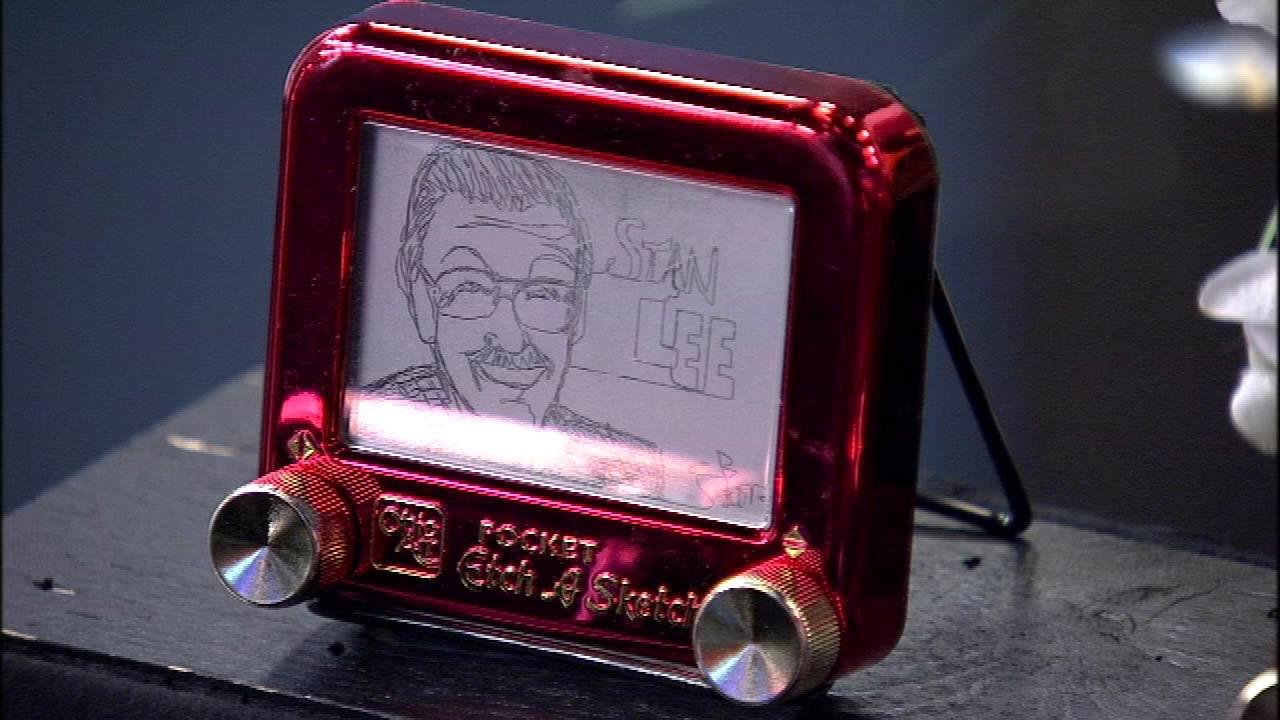 Artist Christoph Browns Etch-A-Sketch rendering of comic book legend Stan Lee. Brown has been a professional artist since the age of 16. He found his calling by using the unusual medium.