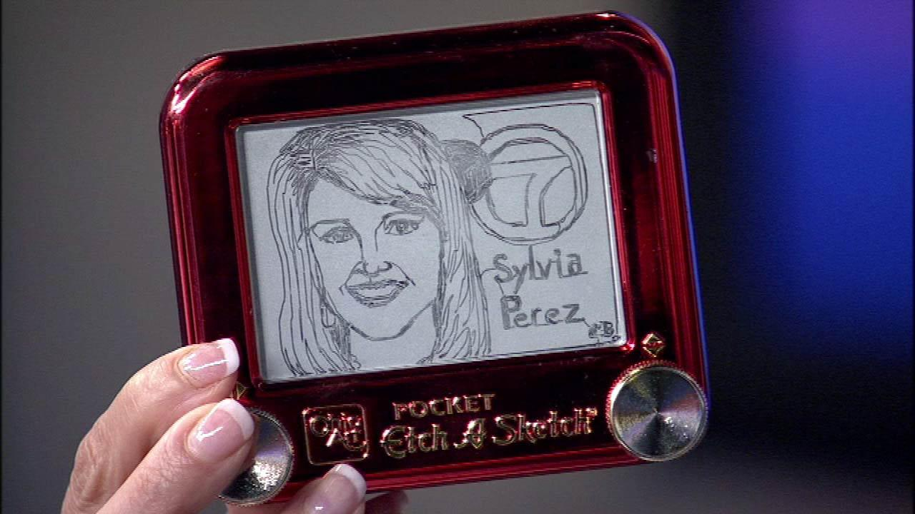 Artist Christoph Browns Etch-A-Sketch rendering of Sylvia Perez. Brown has been a professional artist since the age of 16. He found his calling by using the unusual medium.