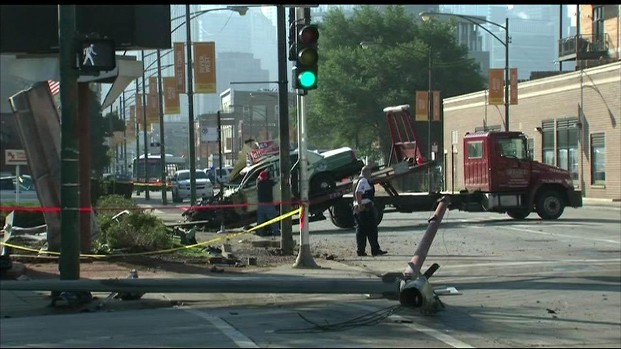 A pedestrian was killed early Tuesday morning, August 14, 2012, when a taxi cab crashed near the corner of Ogden and Milwaukee near Chicago Avenue on the citys Near North Side.