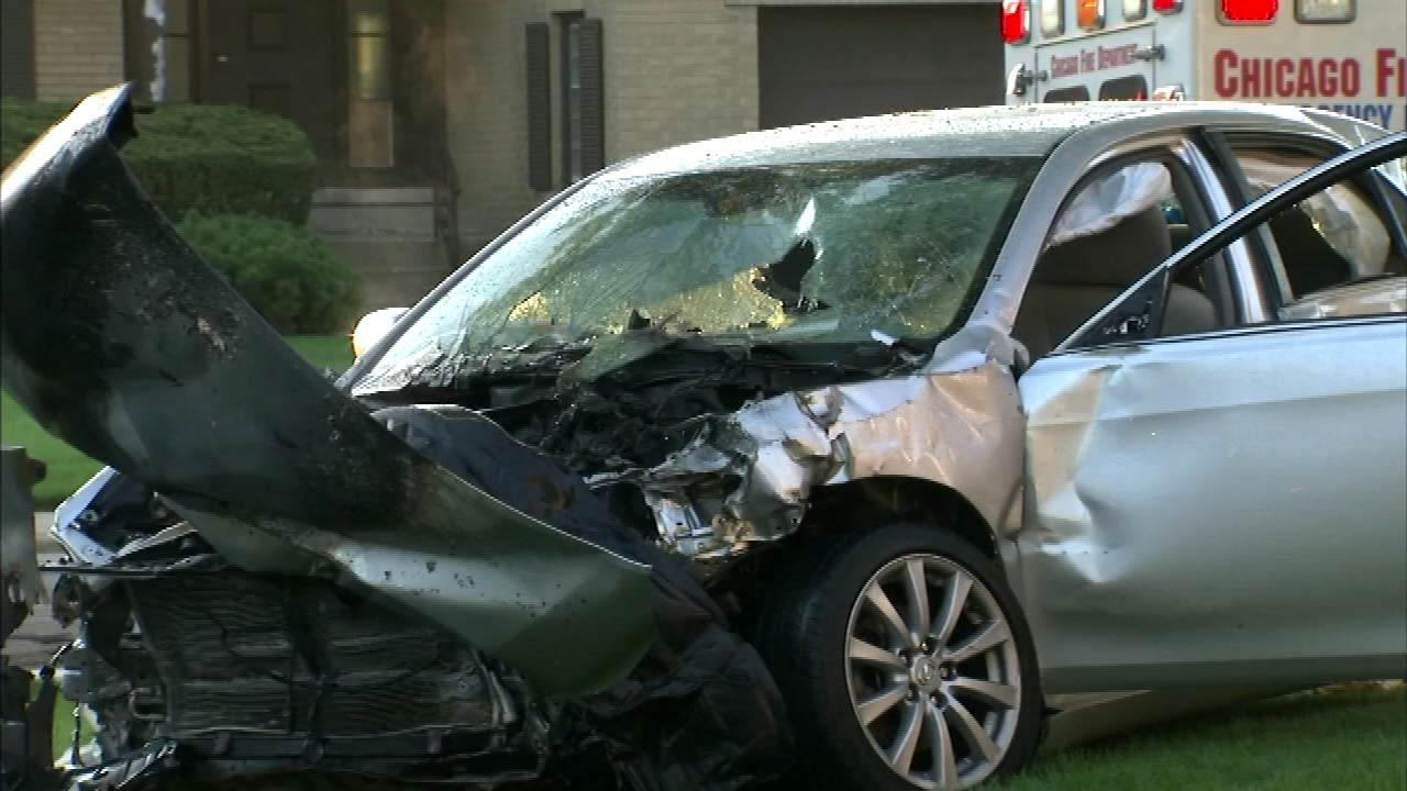A two-vehicle crash at Devon and Kolmar on Chicagos Northwest Side injured seven people early Tuesday, August 21, 2012.