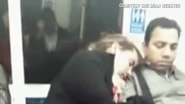 VIDEO: Sleeping woman snuggles with stranger on the London subway