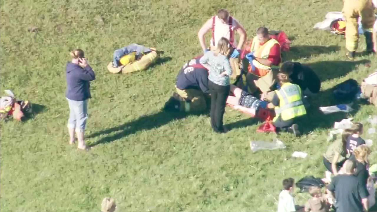 Chopper7hd over the scene of a school bus crash in Marseilles, Ill., near E 25 th and N 32 nd on September 10, 2012.