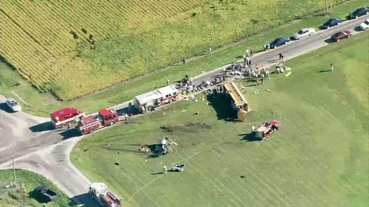 Chopper7hd over the scene of a school bus crash in Marseilles, Ill., near E 25th and N 32nd on September 10, 2012.