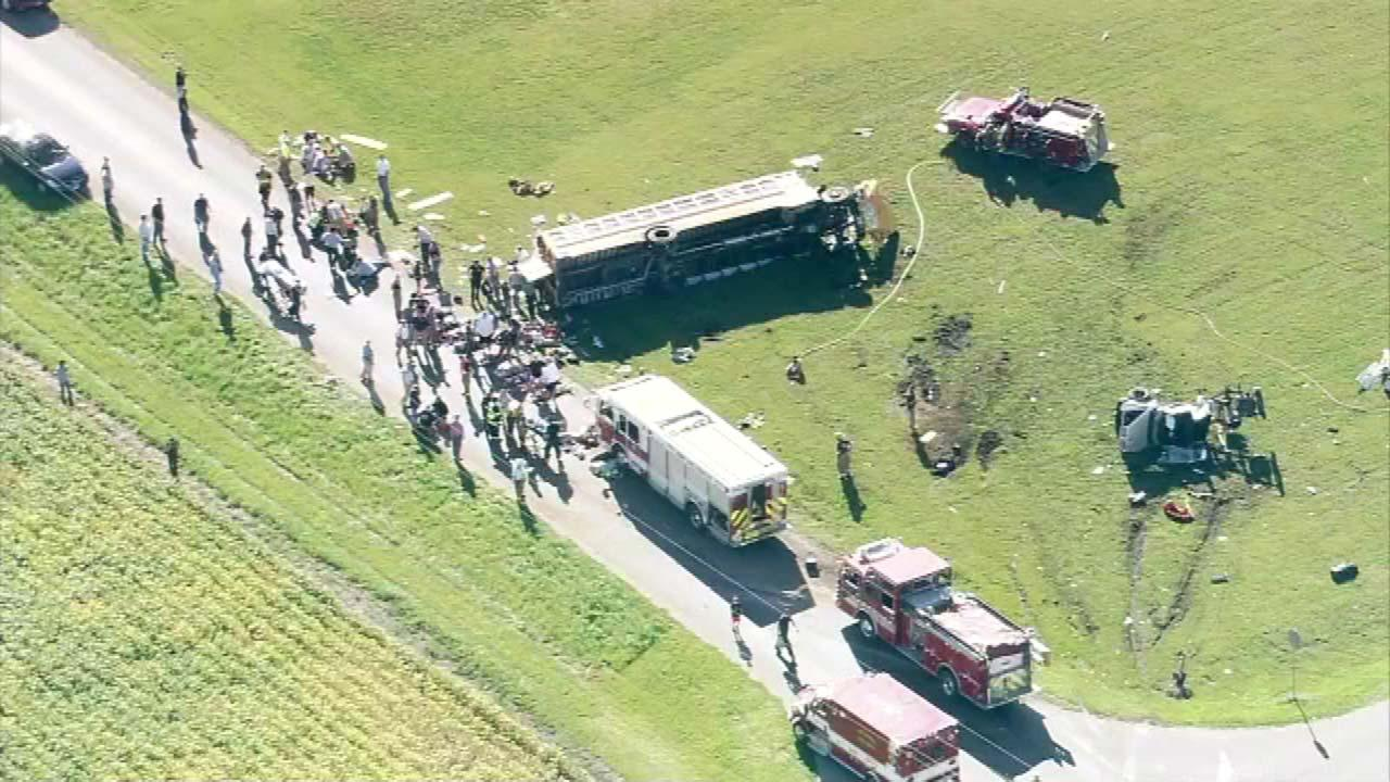 Chopper 7 HD over the scene of a school bus crash in Marseilles, Ill., near E. 25th and N. 32nd on Monday, September 10, 2012.