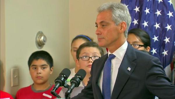 Emanuel talks to reporters on first day of CPS strike