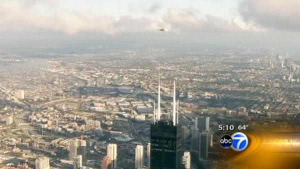 New ABC7 antenna installed atop Willis Tower