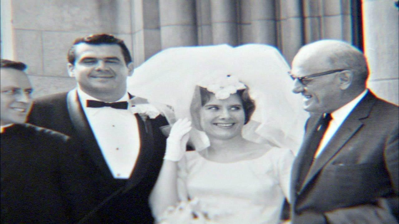 Alexs brother Theodore Karras with his bride and George Papa Bear Halas.