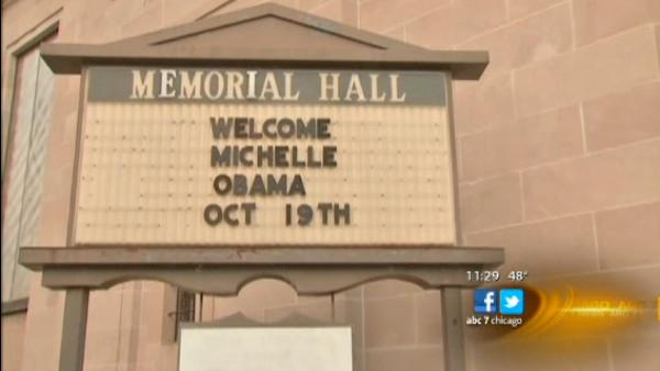 Michelle Obama campaigns in Racine, Wis.