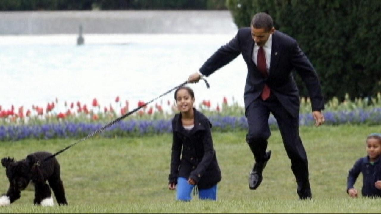 President Obama, Sasha, Malia and dog Bo.