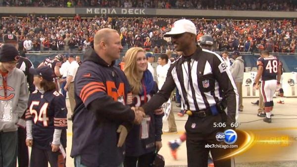 Wounded Chicago cop on the road to recovery, honored by the Bears