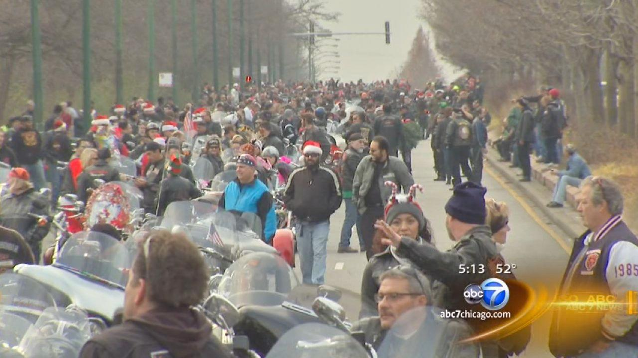 Motorcyclists ride across the city to support Toys for Tots
