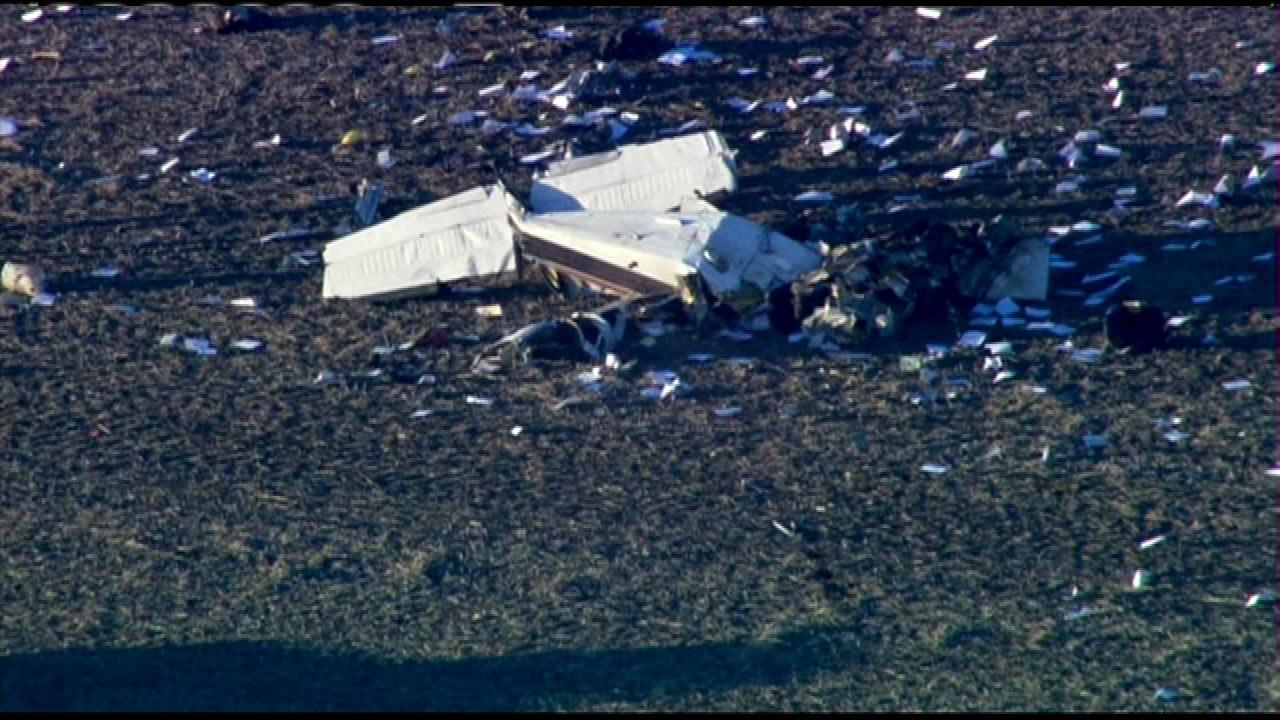 The Will County coroner was called to the scene of a small plane crash in a rural area near Gougar and Offner roads near Manhattan Township in Will County, Illinois, Tuesday, Dec. 4, 2012. (Chopper 7 HD image)