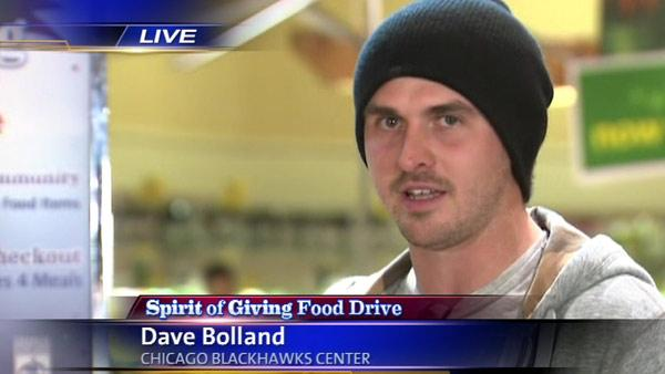 Blackhawks' Dave Bolland at Spirit of Giving Holiday Food Drive