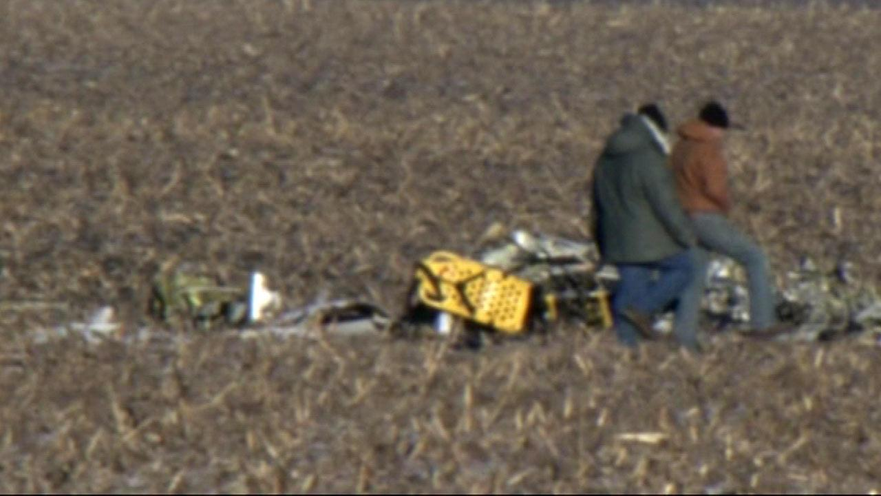 A pilot and two nurses were killed after a medical helicopter crashed near Rochelle, about 75 miles west of Chicago, Tuesday, December 11, 2012.