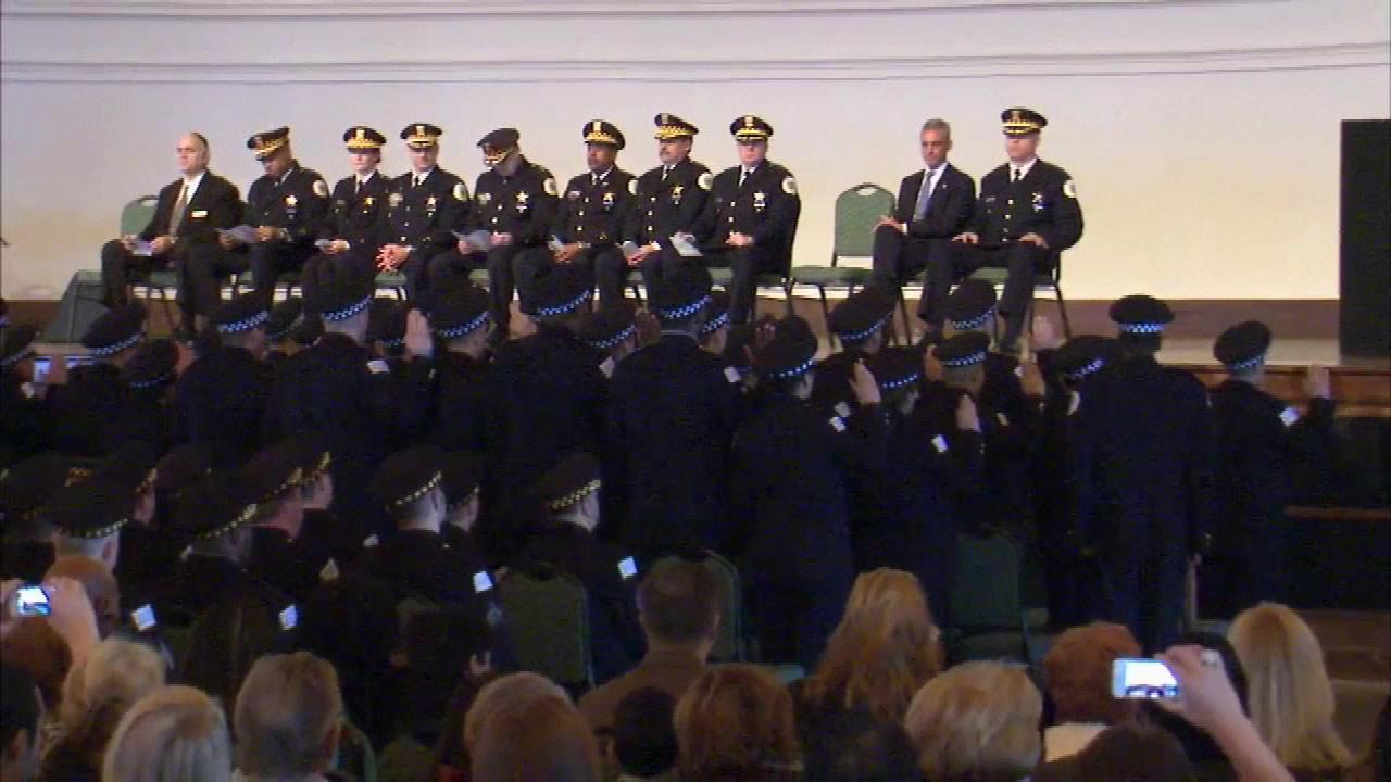 Chicagos newest police officers took their oath Monday morning, December 17, 2012. Forty recruits were sworn in at a ceremony at Navy Pier.